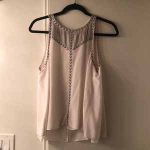 Rebecca Taylor Cream Metallic Embroidered Top 8